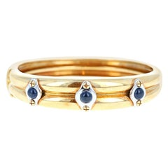 Chaumet 18k Yellow Gold, White Gold & Cabochon Sapphire Bangle 42.7g with Papers