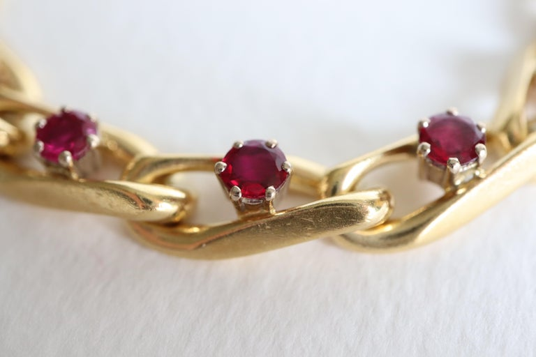 Chaumet 18 Karat Yellow Gold and Ruby Bracelet For Sale 2