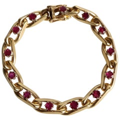 Chaumet 18 Karat Yellow Gold and Ruby Bracelet