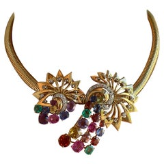 Chaumet 1950's Multi Coloured Gem and Diamond Set Necklace with Gcs Report