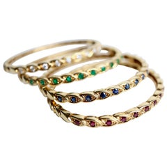 Chaumet 4 Rigid Bracelets in Yellow Gold and Precious Stones