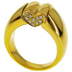 Chaumet Diamonds 18 Karat Yellow Gold Anneau Coeur Heart Ring US 5.5