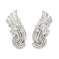 Chaumet Art Deco Diamond and Platinum Fan-Shaped Earrings/Dress Clips