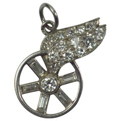 Chaumet Art Deco Hermes Winged Wheel Platinum Diamond Charm