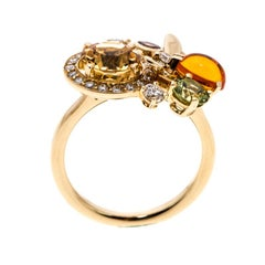 Chaumet Attrape Moi Multicolor Gemstones & Diamond 18k Yellow Gold Ring Size 50