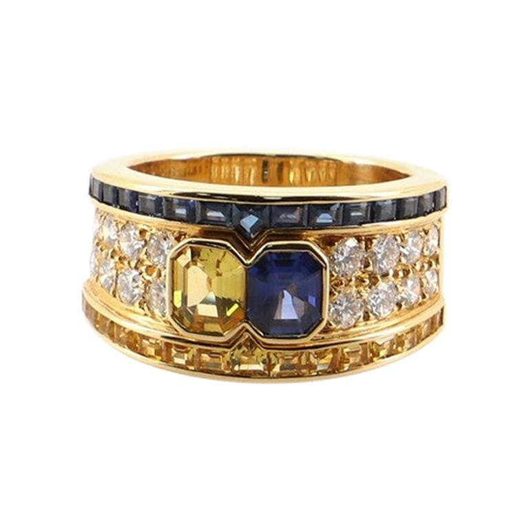 Chaumet Band Ring 18k Yellow Gold with Blue and Yellow Sapphires and Diamond