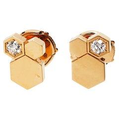 Chaumet Bee My Love Diamond 18k Rose Gold Stud Earrings