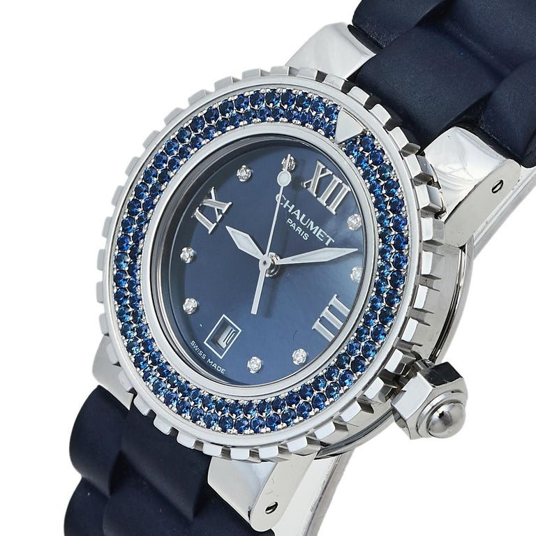 Created with precision and in true worship of the art of watchmaking, this Class One watch is from Chaumet, and it is their first jeweled diving watch. Meticulously made from stainless steel, the timepiece has a blue dial with Roman numerals and dot