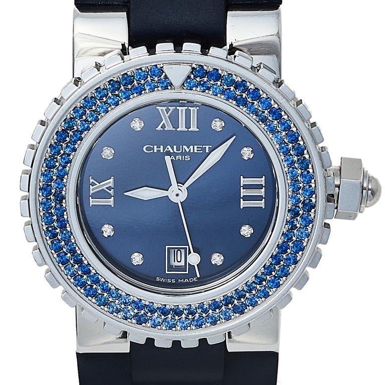Contemporary Chaumet Blue Stainless Steel Class One Quartz Women's Wristwatch 33 mm For Sale