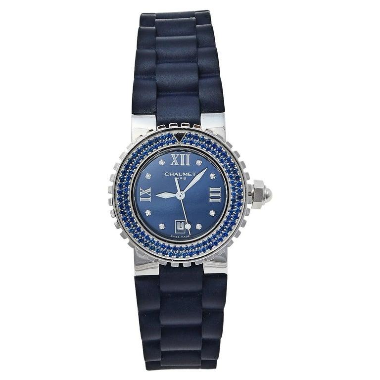 Chaumet Blue Stainless Steel Class One Quartz Women's Wristwatch 33 mm For Sale