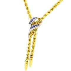 Chaumet Bule Sapphire Gold Necklace 18 Karat Yellow and White Gold