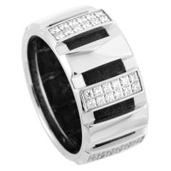 Chaumet Class One Rubber Diamond Pave White Gold Wide Band Ring