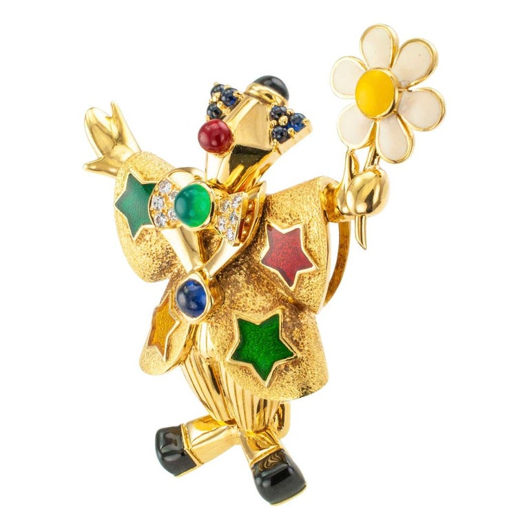Modern Chaumet Clown Brooch Diamonds Enamel Green Onyx Sapphire Gold For Sale