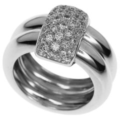 Chaumet Diamond 18 Karat White Gold Duo Ring