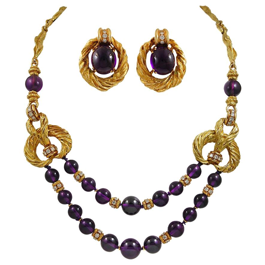 Chaumet Diamond Amethyst Bead Yellow Gold Necklace and Earrings Suite