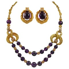 Chaumet Diamond Amethyst Bead Necklace Earrings Suite