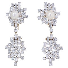 Chaumet Diamond and Pearl Drop Dangle Clip Earrings