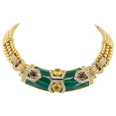 Chaumet Diamond, Malachite, Cabochon Ruby and Sapphire Necklace