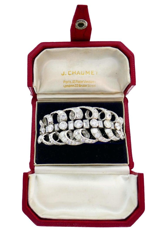 Art Deco Chaumet Diamond Platinum Bracelet, 1930s, French For Sale
