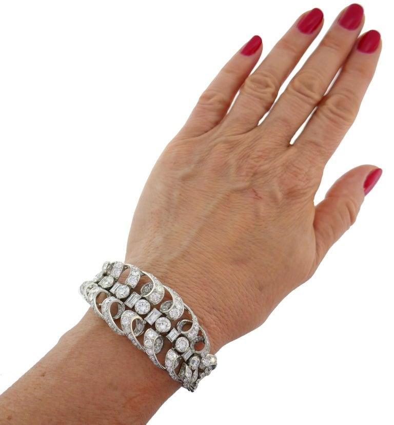 Women's Chaumet Diamond Platinum Bracelet, 1930s, French For Sale
