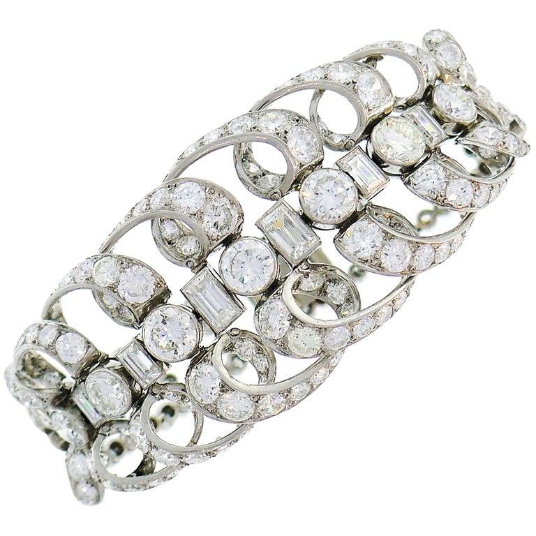 Chaumet Diamond Platinum Bracelet, 1930s, French For Sale