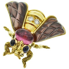 Chaumet Diamond Tourmaline Shell Sapphire 18 Karat Yellow Gold Bee Brooch