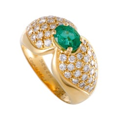 Chaumet Emerald Diamond Pave Gold Solitaire Ring
