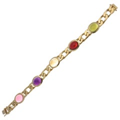 Chaumet Gemstone 18 Karat Gold Link Bracelet