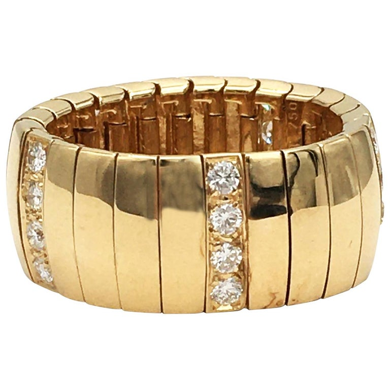 Chaumet Gold and Diamond Flexible Ring For Sale