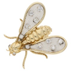 Chaumet Paris Diamond Insect Brooch Set in 18k Yellow and White