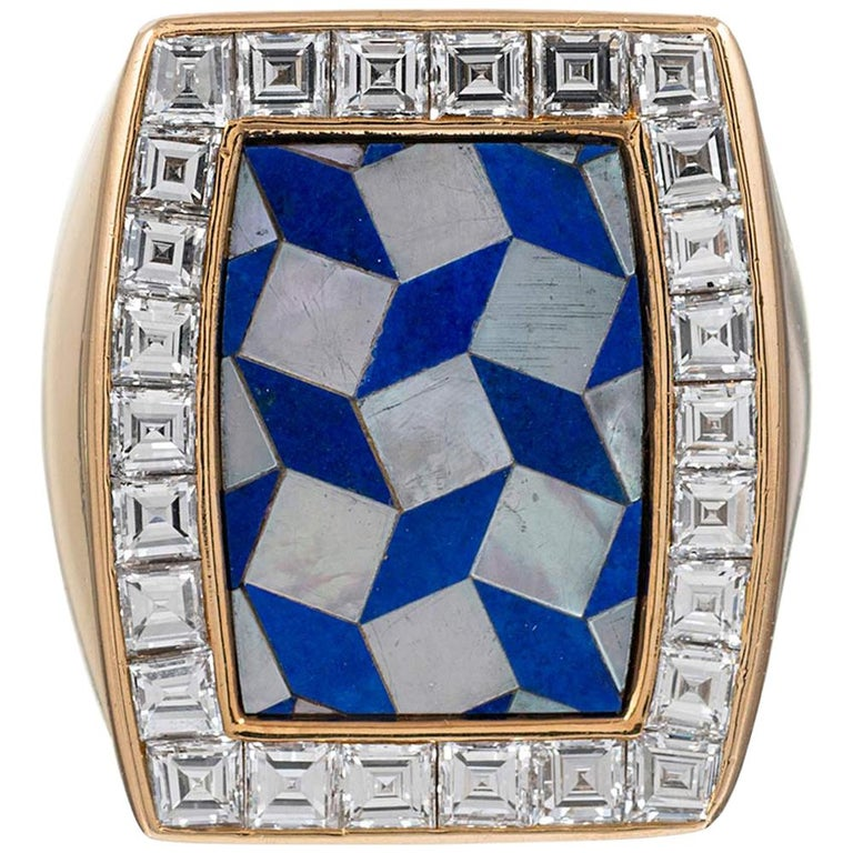 Chaumet Lapis, Mother of Pearl and Diamond Ring For Sale