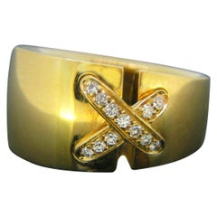 Chaumet Large Double Lien Link Diamonds Yellow Gold Ring