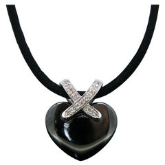 "Chaumet ""Lien"" Black Ceramic Diamonds Heart Pendant Satin Cord Necklace"