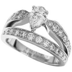 Chaumet Pair Shape Diamond 18 Karat White Gold Josephine Tiara Ring
