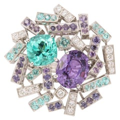Chaumet Paraiba Tourmaline Purple Sapphire Diamond Cocktail Ring
