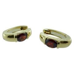 Chaumet Paris 18 Karat Yellow Gold and Garnet Huggie Hoop Earrings