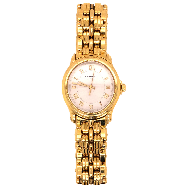 Chaumet Paris 18 Karat Yellow Gold Roman Numerals Ladies Watch