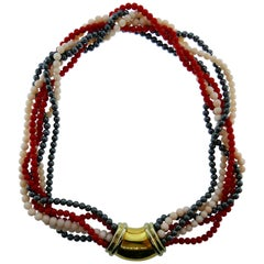 Chaumet Paris 18k Yellow Gold, Coral and Hematite Multi Strand Necklace Vintage