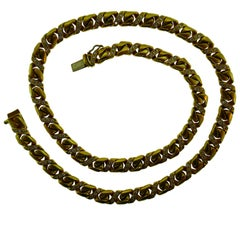 Chaumet Paris 18k Yellow Gold & Diamond Link Chain Necklace Vintage, circa 1980s