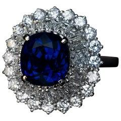Chaumet Paris 1970s Sapphire Diamond Platinum Ring