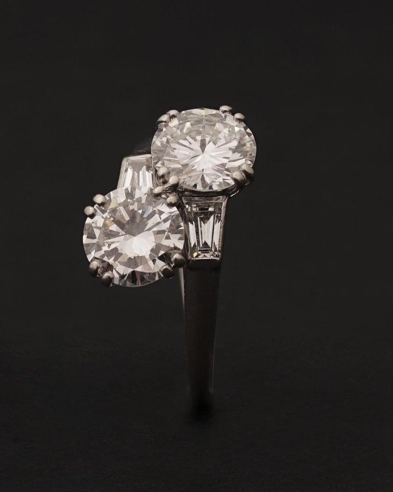 Modern Chaumet, Paris, A Toi & Moi Diamond (G/ VVS2) and Platinum Ring, circa 1950 For Sale