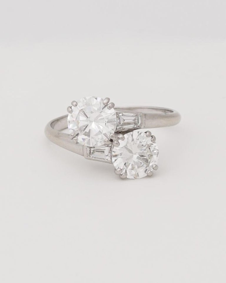 Brilliant Cut Chaumet, Paris, A Toi & Moi Diamond (G/ VVS2) and Platinum Ring, circa 1950 For Sale