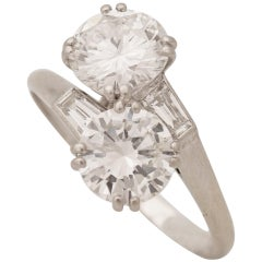 Chaumet, Paris, A Toi & Moi Diamond (G/ VVS2) and Platinum Ring, circa 1950