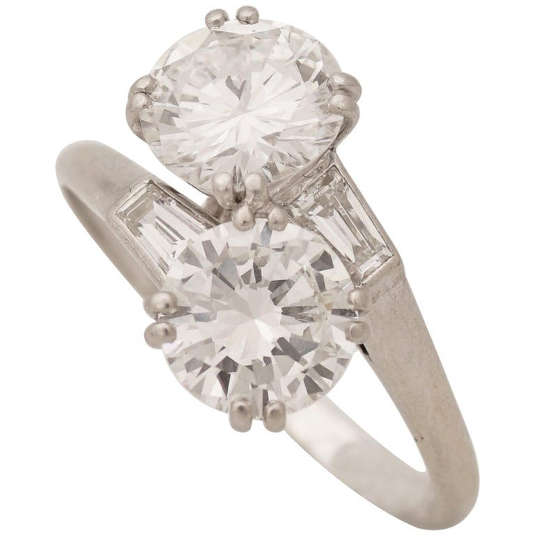 Chaumet, Paris, A Toi & Moi Diamond (G/ VVS2) and Platinum Ring, circa 1950 For Sale