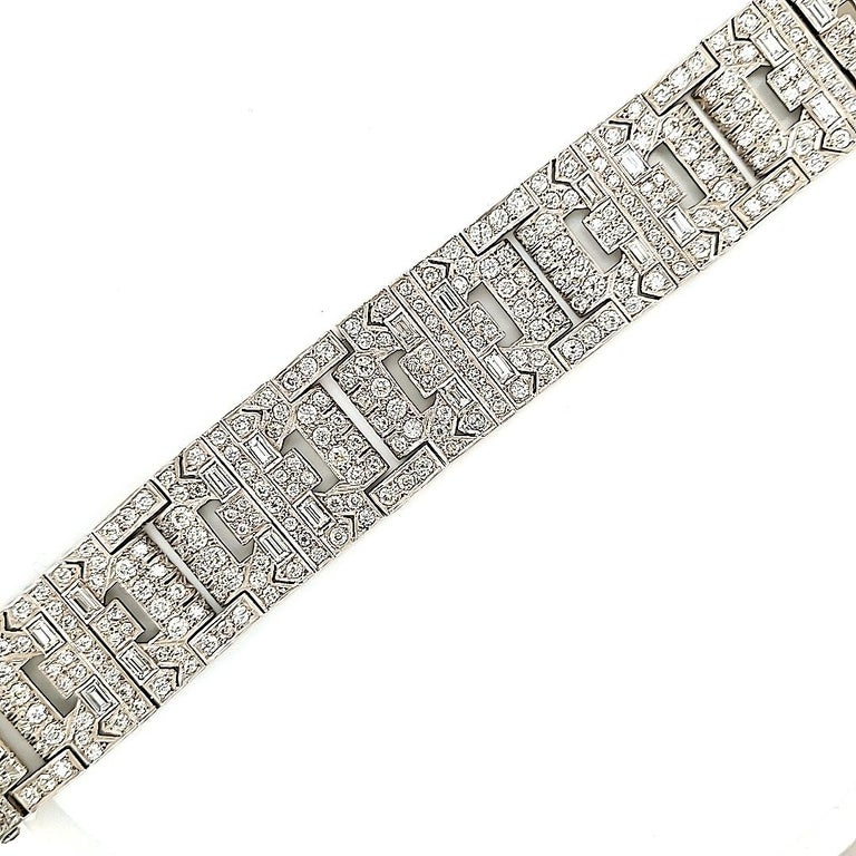 A stunning bracelet from the Art Deco period created by Chaumet Paris. Circa 1920. It is made with round and baguette shape diamonds (carat weight is unknown). The metal is platinum. The weight is 65.69 grams. The bracelet is 7.5 inches long (19.05