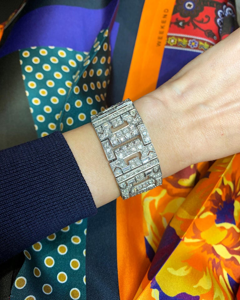 Mixed Cut Chaumet Paris Art Deco Diamond Platinum Bracelet For Sale