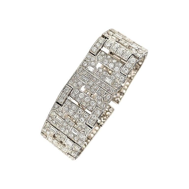 Chaumet Paris Art Deco Diamond Platinum Bracelet For Sale