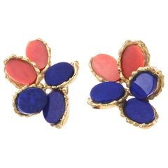 Chaumet Paris Coral Lapis 18 Karat Earrings