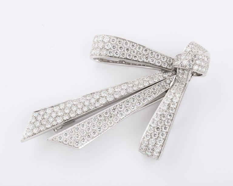 Women's or Men's Chaumet Paris Diamond Bow Brooch For Sale