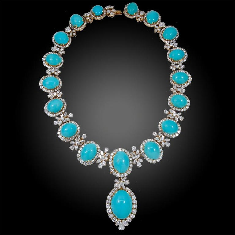 Round Cut Chaumet Paris Diamond, Cabochon Turquoise Necklace, Ear Clips and Ring For Sale